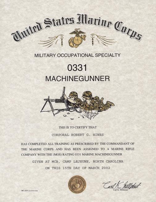 marine corps machine gunner mos