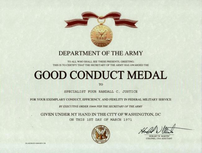 Arm dn medaile za vzornou slu bu ostatn st tn vyznamen n for Army good conduct medal certificate template