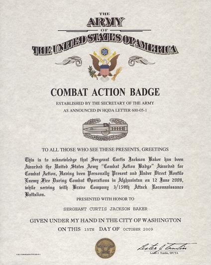 Combat Action Badge Certificate Of Combat Service