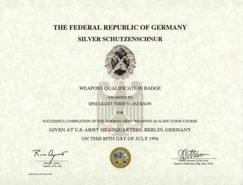 Military certificates com army nco creed german proficiency badge