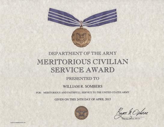 army meritorious civilian service award